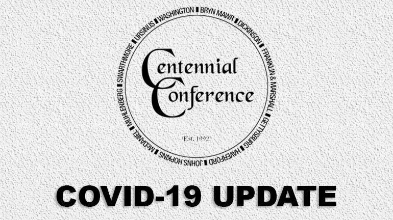 Graphic featuring the Centennial Conference logo and text reading COVID-19 Update
