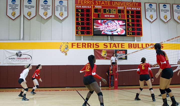Ferris State Volleyball Puts New Scoreboard To Use In Decisive Home-Opening Victory