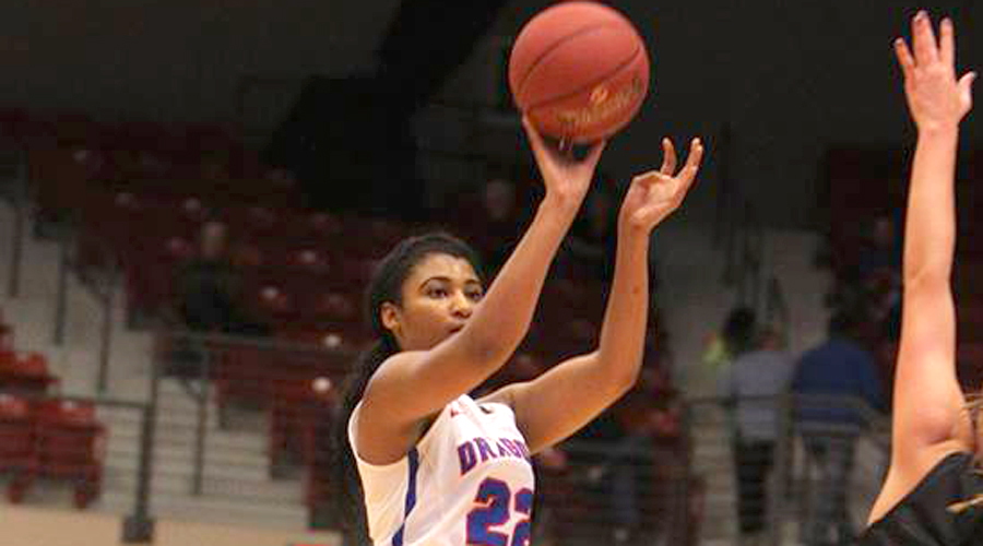 DejaNae Roebuck scored a career-high 24 points in a 61-52 loss to San Jacinto in the opening-round of the NJCAA Women's Tournament on Monday in Lubbock, Texas. (Allie Schweizer/Blue Dragon Sports Information)