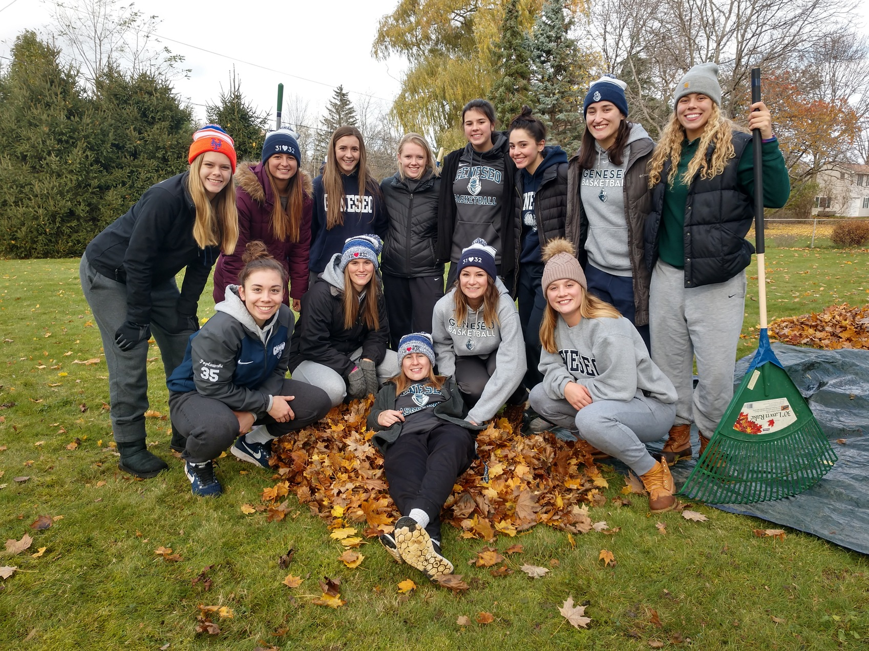 Women's Basketball Leaf Raking