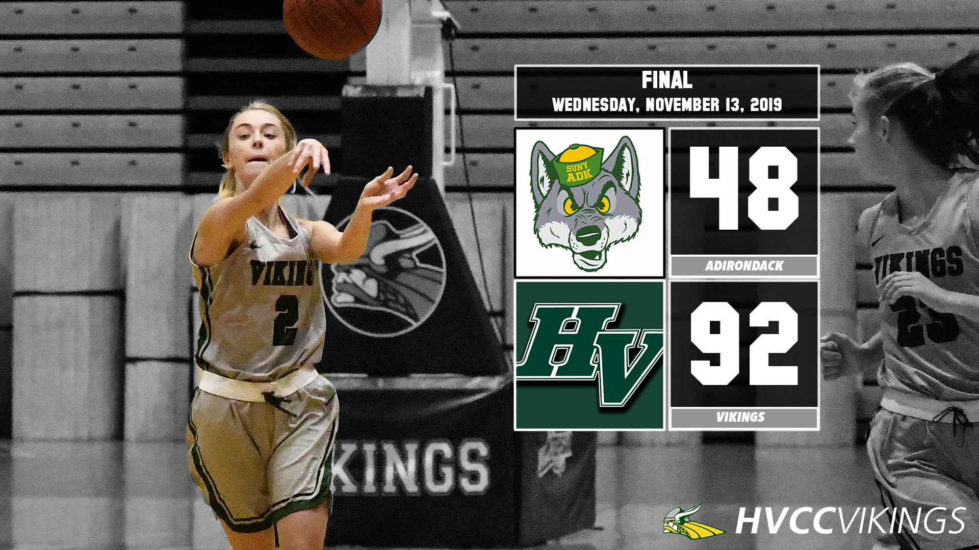 Women's basketball defeats Adirondack 92-48 on Nov. 13, 2019.