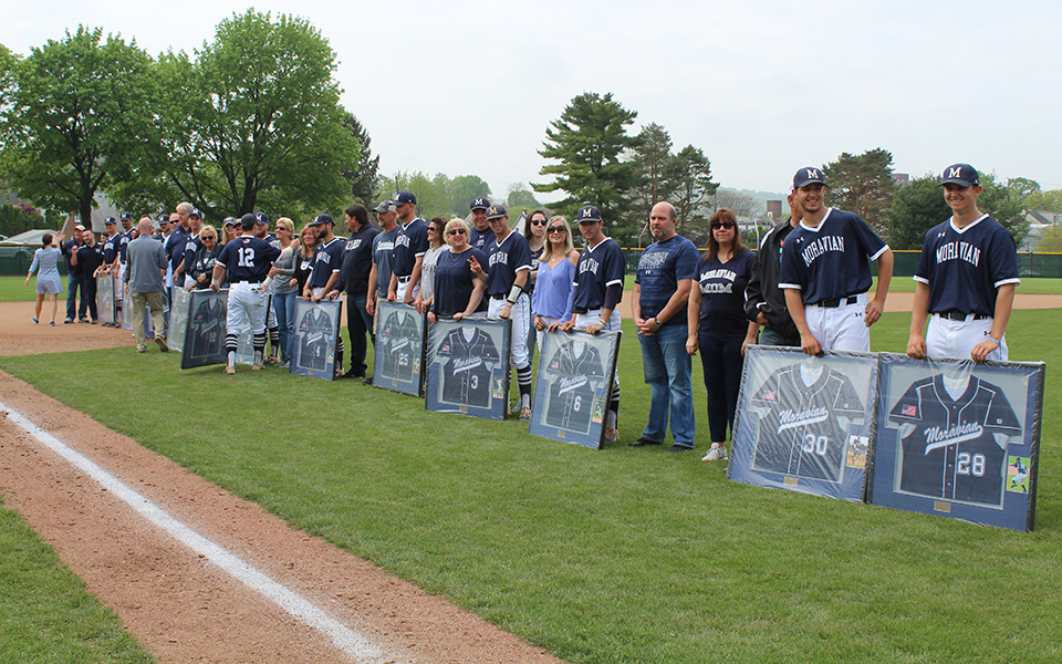 The Greyhounds honored their 13 seniors before hosting The University of Scranton on Gillespie Field.