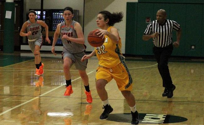 Senior Amanda Kubitz recorded her second career double-double to lift women's basketball past SUNY Canton 63-48 Tuesday (photo courtesy of Ed Webber, Keuka College Sports Information department).