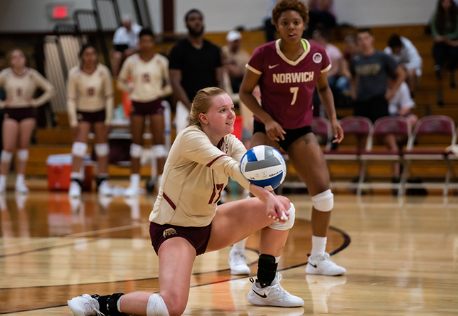 Volleyball: Cadets Split Home Tri with MCLA and Dean