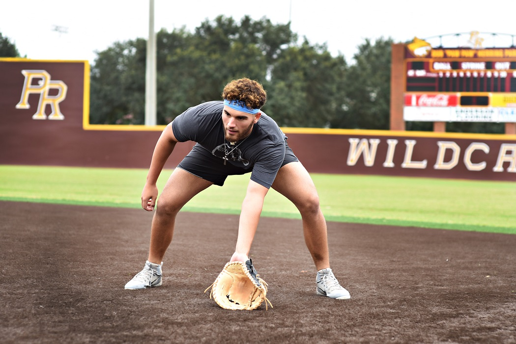 "Former Pearl River slugger Simon ""Meaux"" Landry works out at Dub ""Paw Paw"" Herring Park during the offseason. Landry originally signed with the University of Houston but opted to turn pro after being drafted by the Los Angeles Dodgers. (KRISTI HARRIS/PRCC ATHLETICS)"