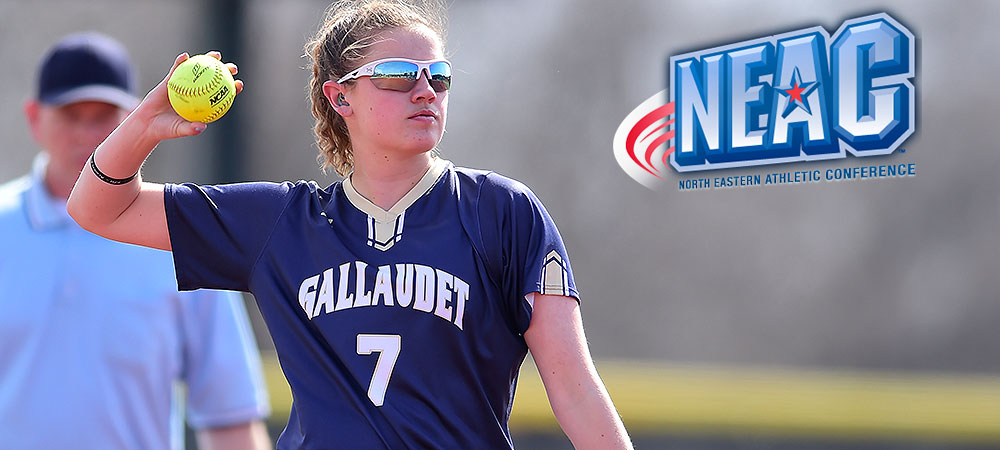 Gallaudet softball player Hannah Neild makes a throw from the shortstop position. She throws a yellow softball with her right hand. She is wearing sunglasses. A NEAC logo is in the upper right corner.