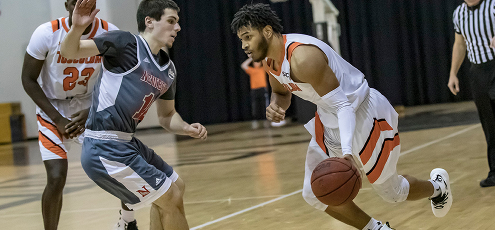 Tariq Jenkins scored a season-high 22 points in Tusculum's 91-81 overtime win over Newberry (photo by Chuck Williams)