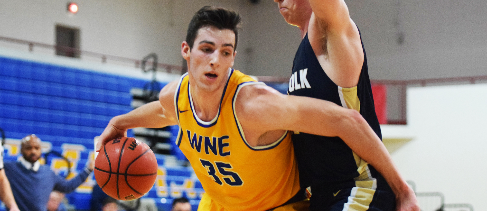 Sophomore Zach Tavitian finished with 16 points in Western New England's 91-77 loss to Suffolk on Monday night. (Photo by Rachael Margossian)