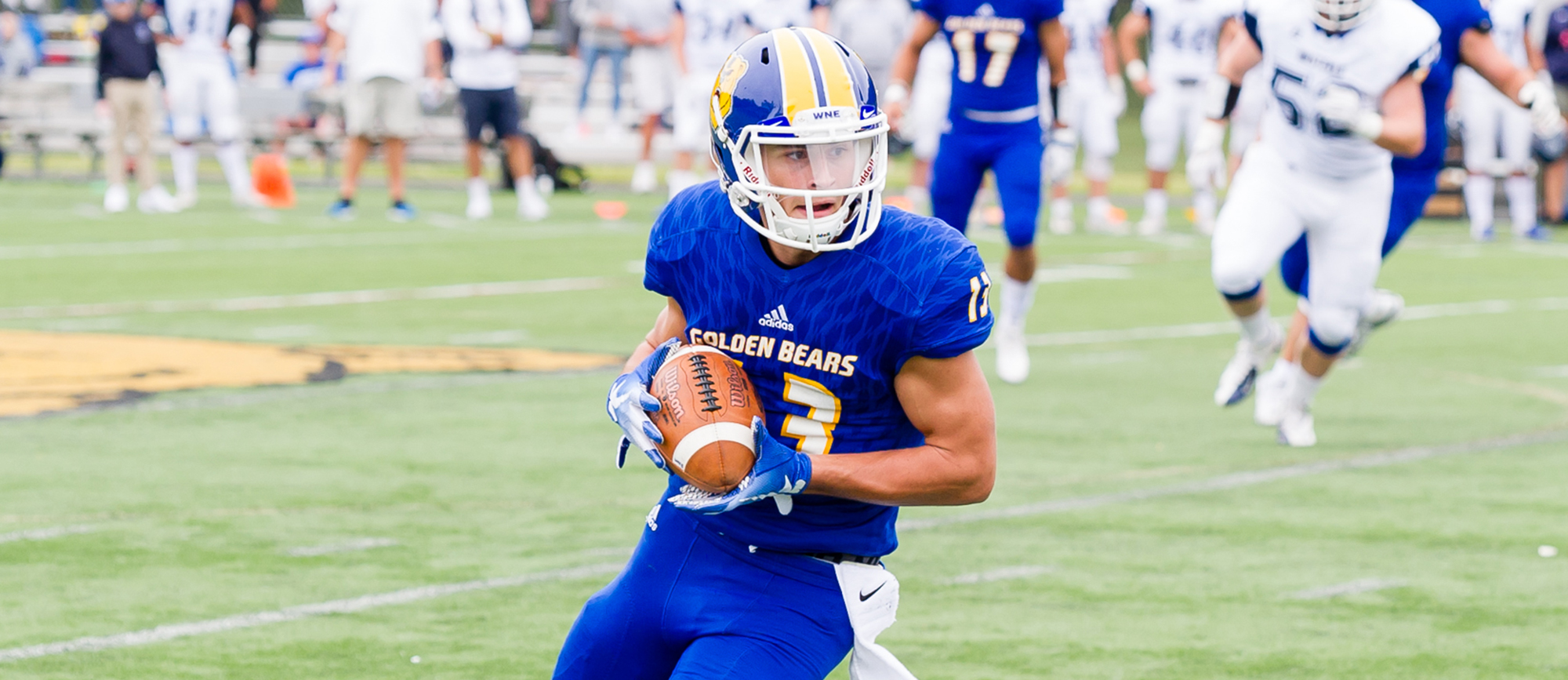 Sophomore receiver Adam Razza caught three passes for a career-high 134 yards and one touchdown in Western New England's 56-21 triumph over Curry on Saturday. (Photo by Bryan Hewitt)
