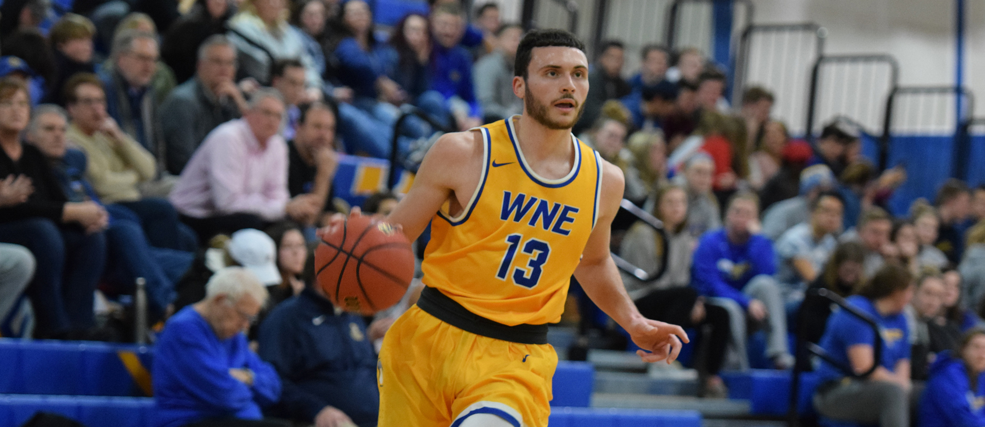 Alex Sikorski scored a game-high 21 points in Western New England's 104-88 win over UNE on Saturday. (Photo by Rachael Margossian)