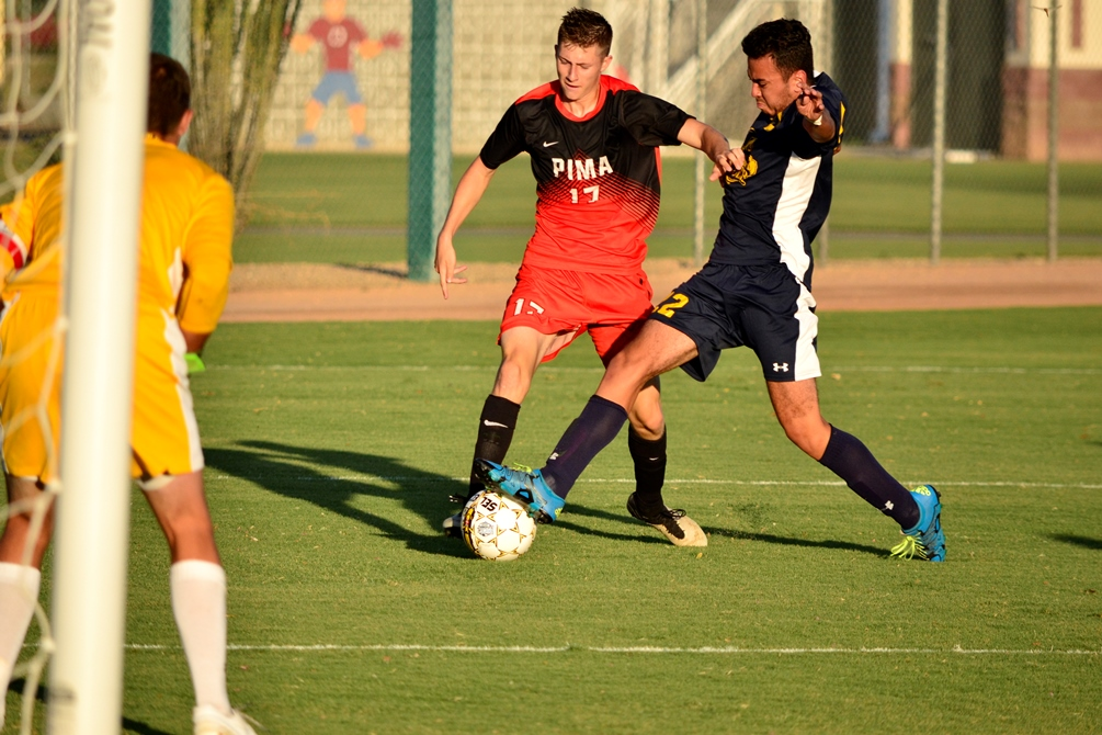 Sophomore Chris Cooper had both assists as the Aztecs defeated Paradise Valley Community College 2-0 to open the 2017 season at Kino North Grandstand. Photo by Ben Carbajal 2016