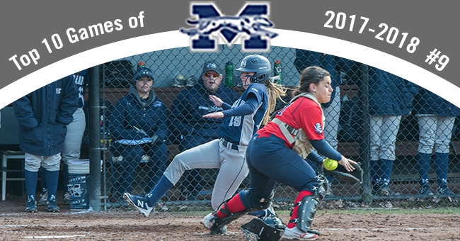 Kaela Kane '19 slides across home plate in the No. 9 contest, a 3-2 win over DeSales in the Top 20 Exciting Games of 2017-18.