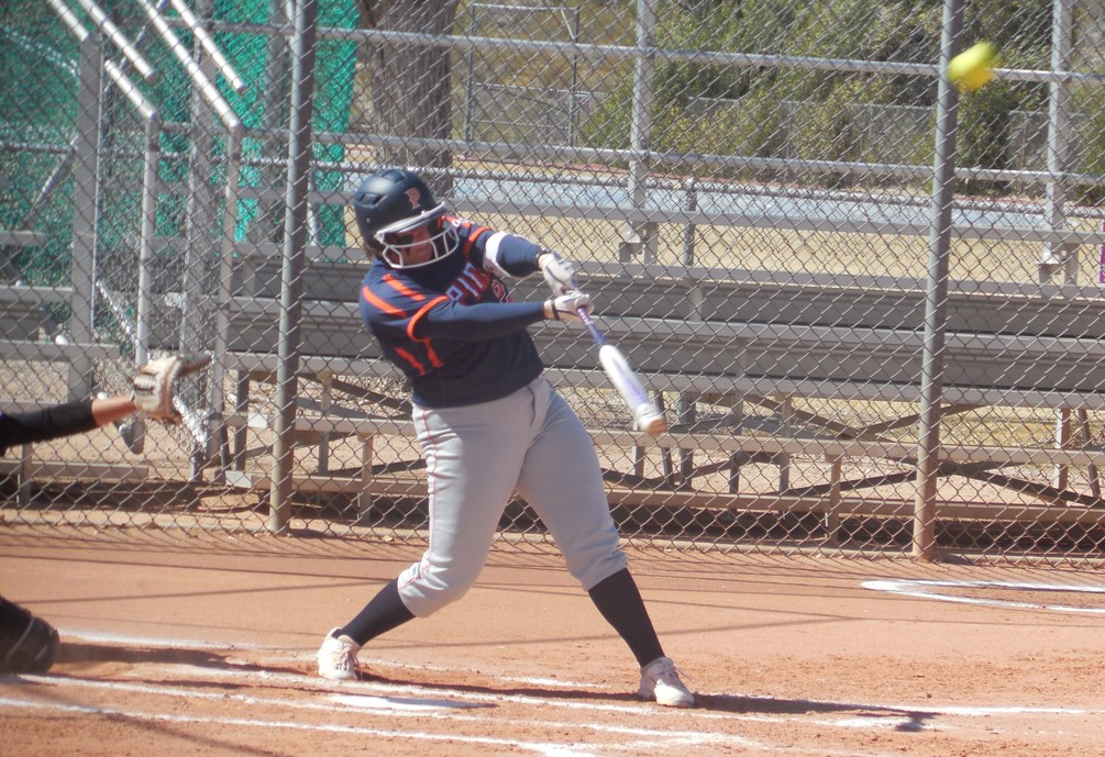 Sophomore Sierra Gentry hit two home runs with eight RBIs and five runs scored on Tuesday as the Aztecs swept Chandler-Gilbert Community College. The Aztecs improved to 16-6 overall and 9-5 in ACCAC conference play. Photo by Raymond Suarez
