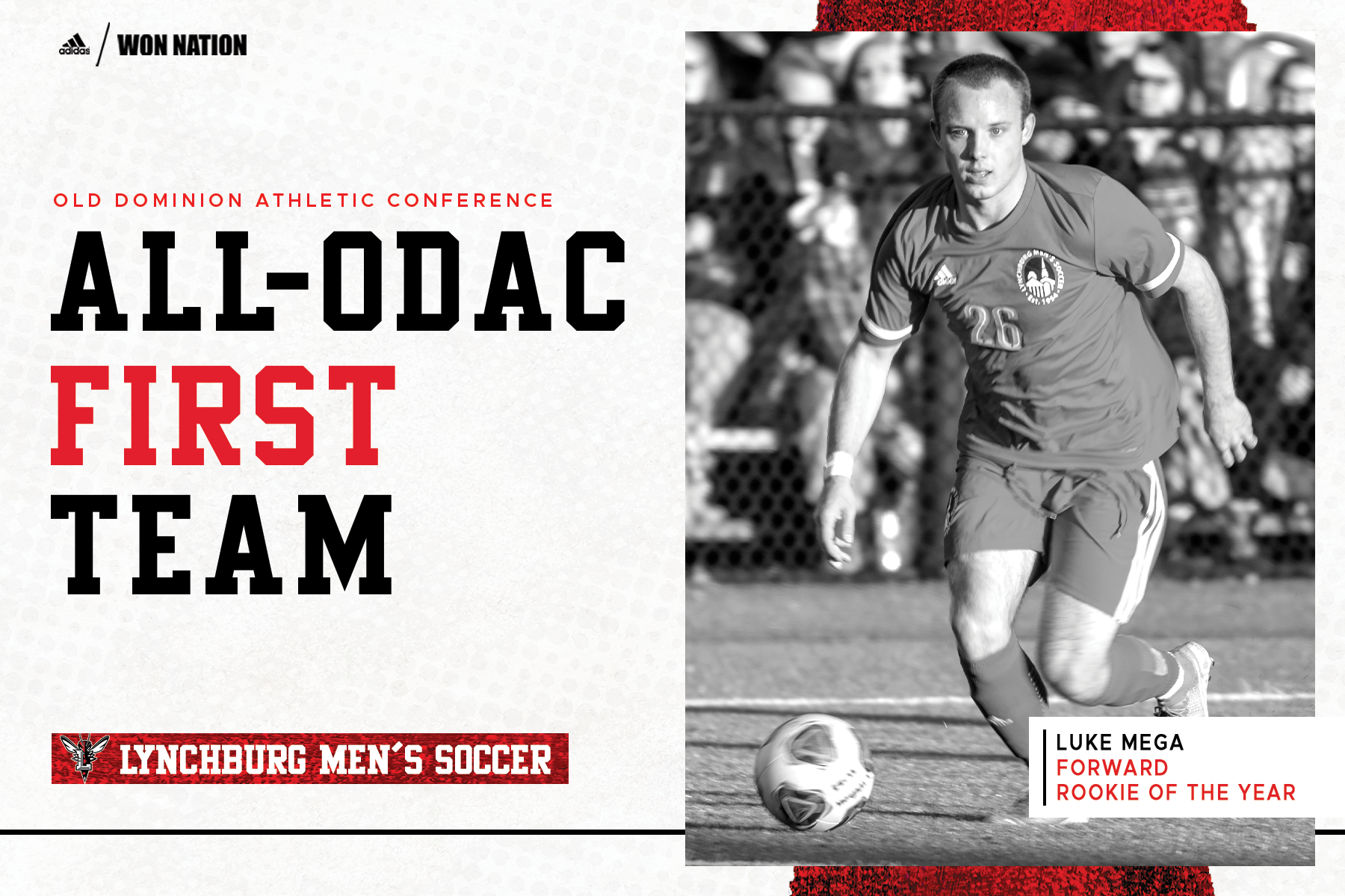 Black and white image of Luke Mega playing soccer on right of white and red All-ODAC graphic template