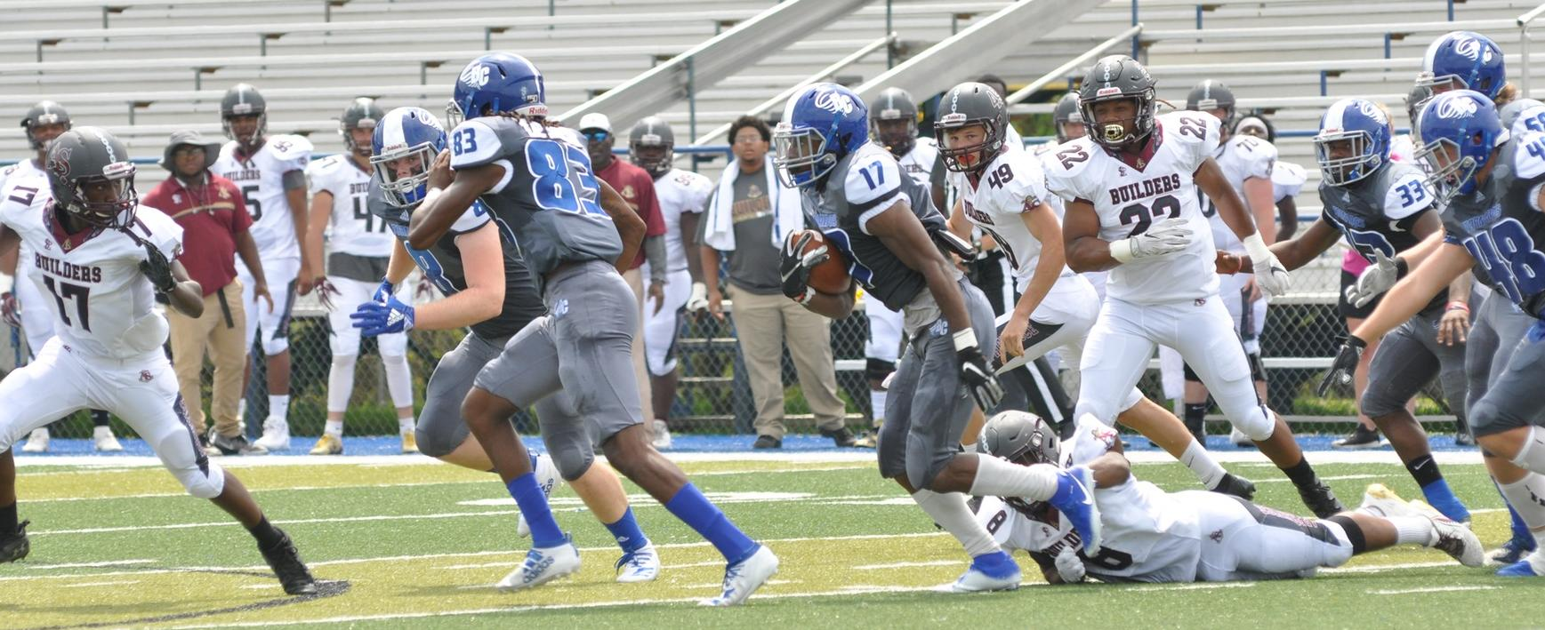 Junior Jamerial Parks returns a kickoff in Brevard's canceled home-opener vs. Apprentice. (Courtesy of Tommy Moss)