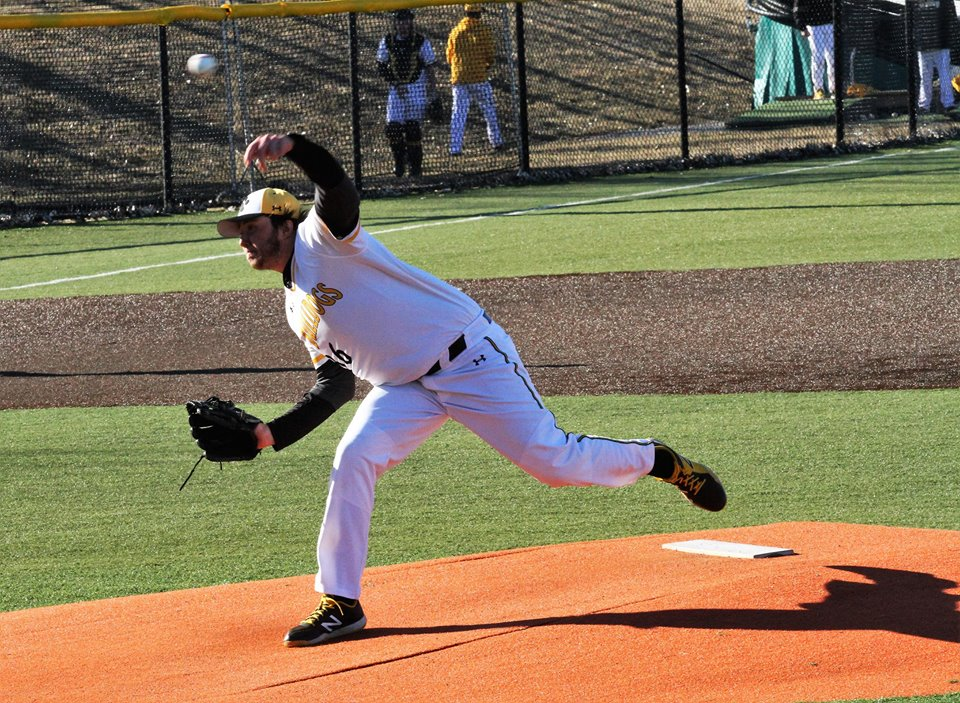 Junior Brandon Schulze chalked up his first career save with the Bulldogs in one of his finest outings in this, his debut season at Adrian. (Action photo Special to AdrianBulldogs.com)