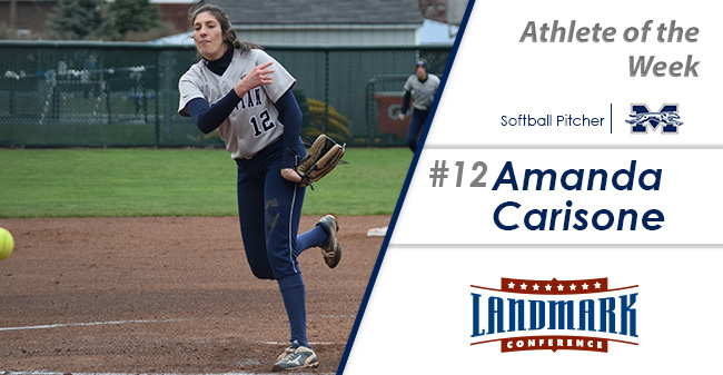 Amanda Carisone '18 honored as Landmark Conference Softball Pitcher of the Week