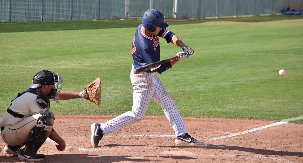 Sophomore Phillip Sikes went 5 for 7 with two RBIs and two runs. He also picked up his fourth save of the season as the Aztecs baseball team earned another big ACCAC Division I sweep at Yavapai College. The Aztecs have won six straight and improved to 32-14 overall and 18-11 in ACCAC conference play. Photo by Ben Carbajal