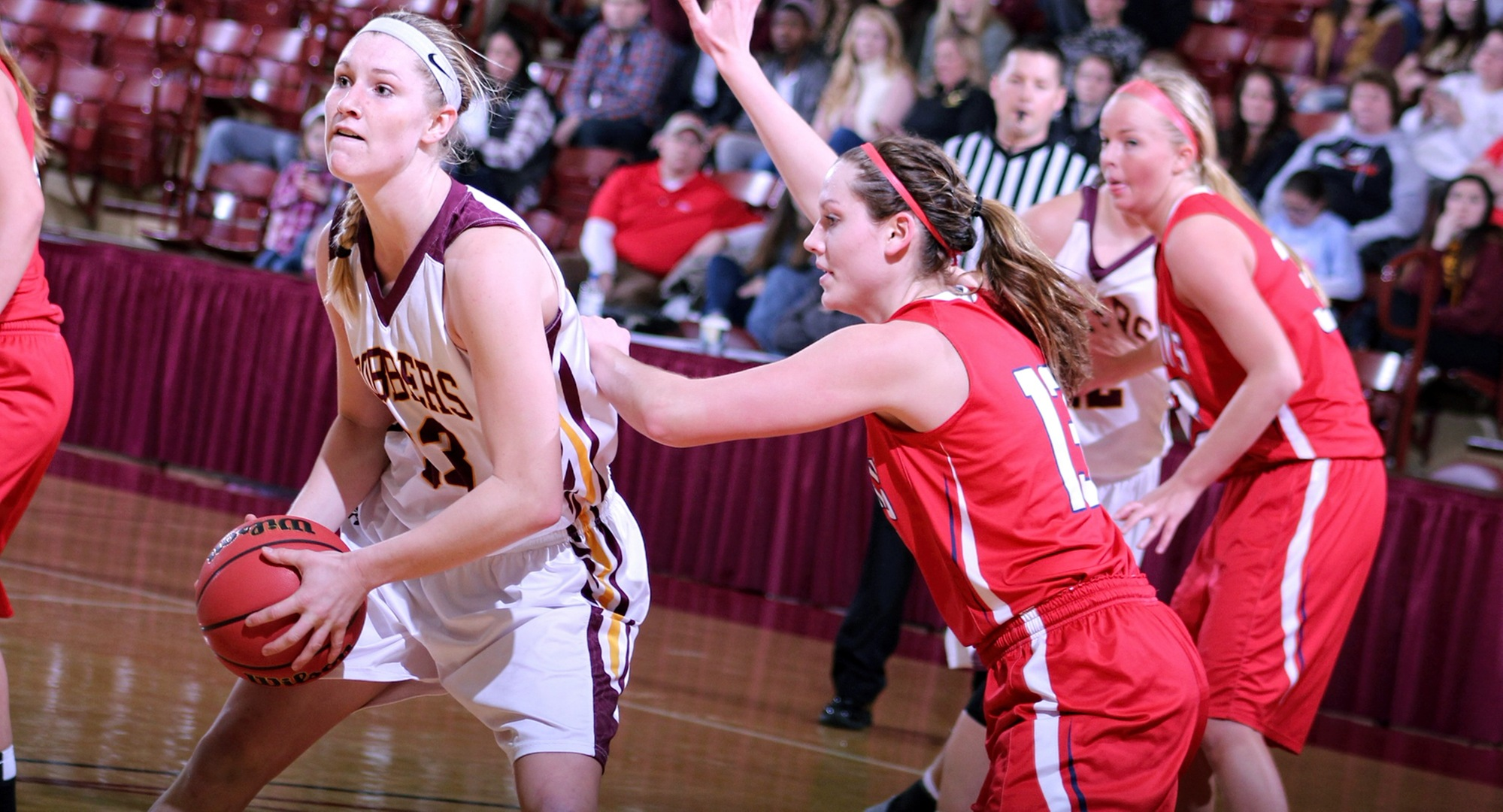Senior Jenna Januschka looks to go up for two of her team-high 15 points in the Cobbers' game with St. Mary's.