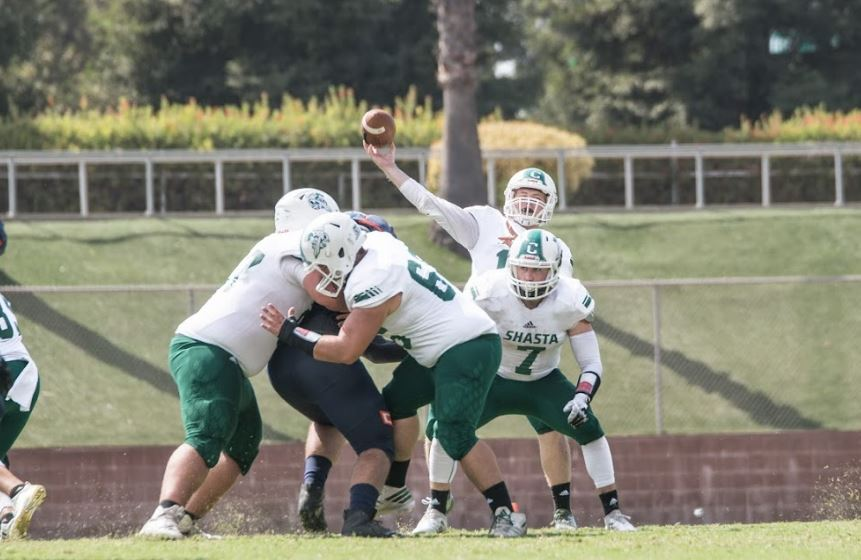 SHASTA COLLEGE RALLIES PAST FEATHER RIVER 44-37