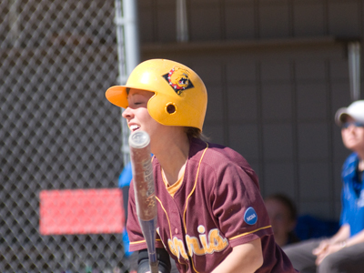 Rachel Mueller continues to lead FSU offensively with another two base-hit effort.  (Photo by Ed Hyde)