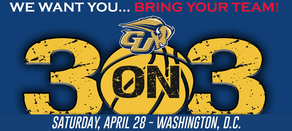 Gallaudet 3-on-3 logo with Bison logo and the text says