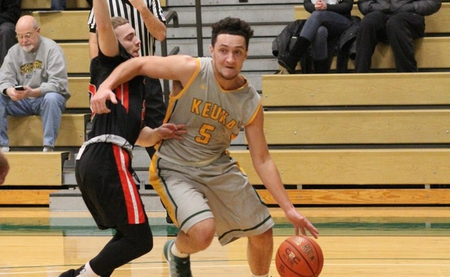 Greg Tyler (5) led Keuka College with 20 points in their 67-66 victory over Lancaster Bible College