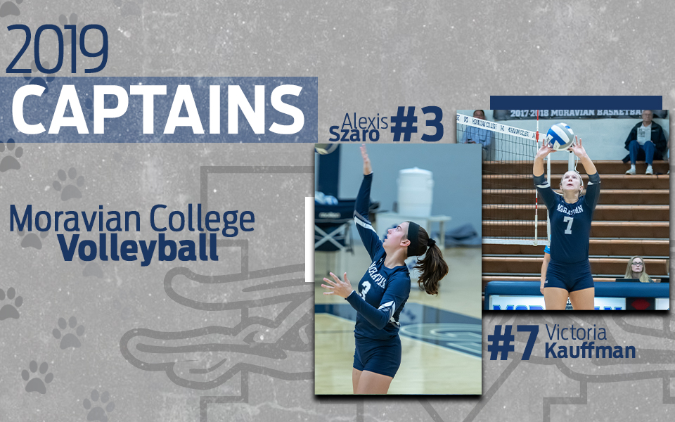2019 women's volleyball captains Alexis Szaro and Victoria Kauffman.