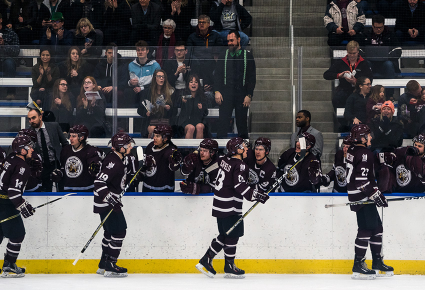 The MacEwan Griffins celebrate a goal during the ACAC final at the Downtown Community Arena last March (Matthew Jacula photo).