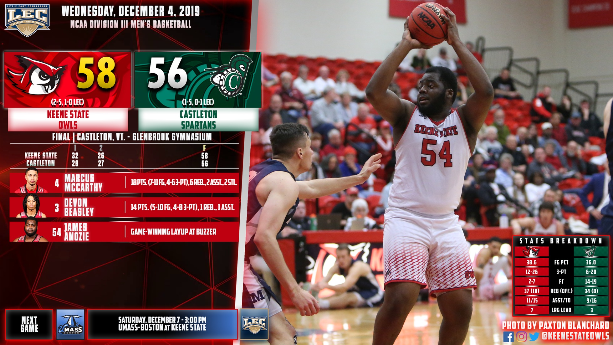 Anozie's Game-Winning Buzzer Beater Helps Men's Basketball Escape Castleton, 58-56