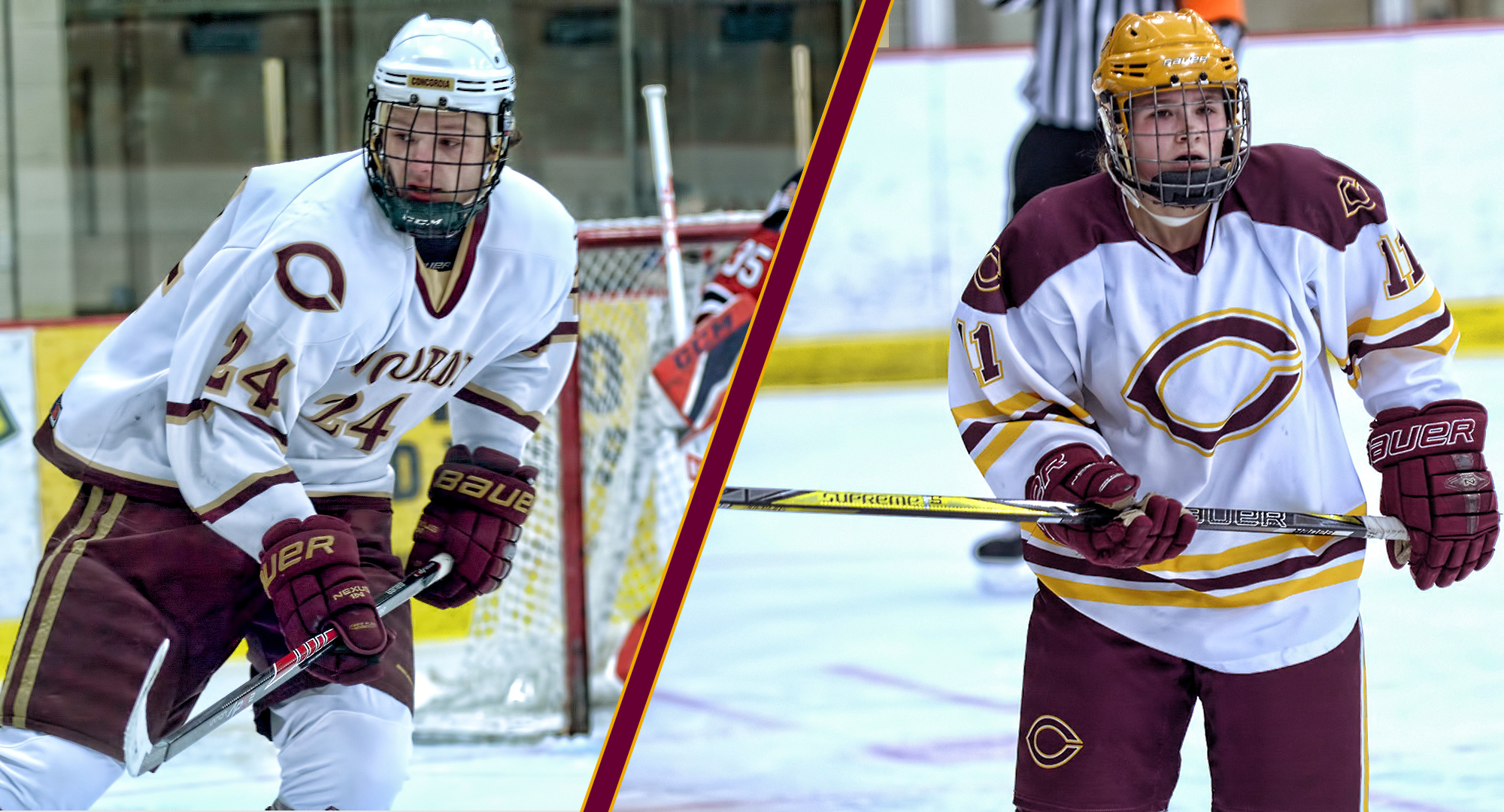Jake Ellingson is a member of the Cobber men's hockey team while sister Maddie skates on the women's squad.