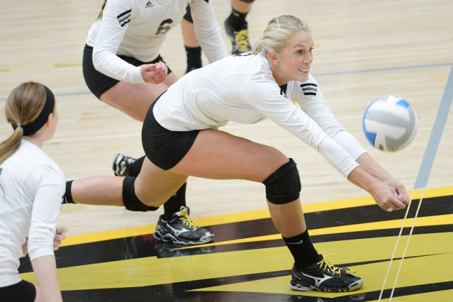 Larissa Krumplitsch paced the Titans with 15 kills, six digs and five service aces