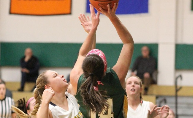 Katie Stuart (14) set career-highs in scoring (34 points) and rebounding (16 rebounds) in Keuka's win on Sunday