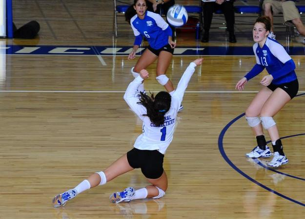 Volleyball Third in NEC Poll