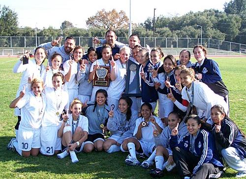 The Cerritos women's soccer team won their first CCCAA State Championship in 2007