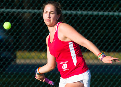 Ilana Unger led a strong outing for the Red Devils, surrendering just one point in two matches as Dickinson blanked McDaniel 9-0<BR>