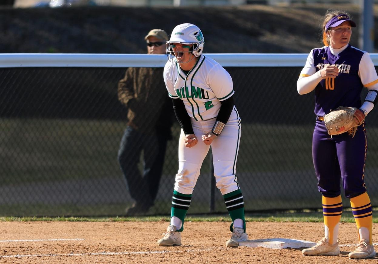 Copyright 2019; Wilmington University. All rights reserved. File photo of Lauren Lopez who doubled in the winning run in the top of the seventh in game two at Bloomfield. Photo by Chris Vitale. March 26, 2019 vs. West Chester.