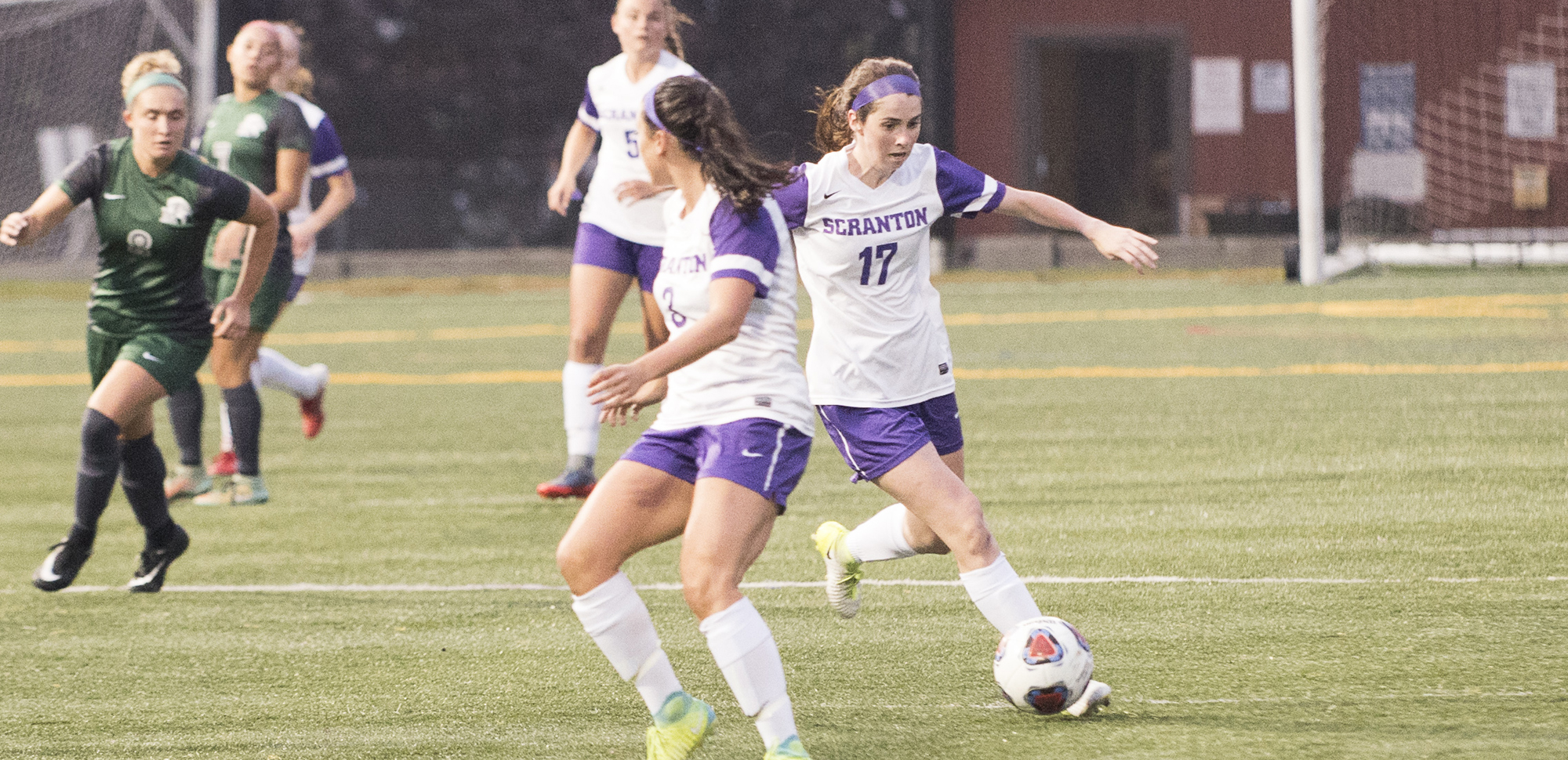 Senior Kelly Pompey (17) and junior Erica Licari (foreground) both had goals in Scranton's semifinal victory on Wednesday.