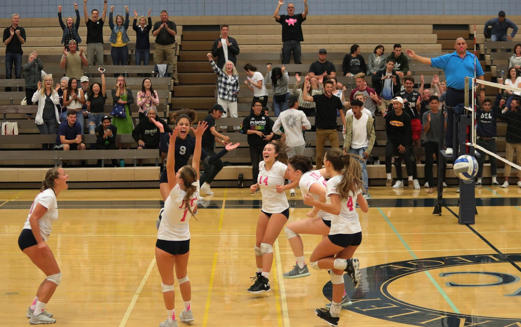 Volleyball team pulls out dramatic, five-set win over Cypress