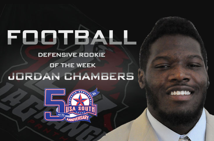 Football: Chambers earns second USA South Defensive Rookie of the Week  award