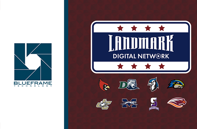 Landmark Conference digital network logo with conference school logos and Blue Fram Technology logo.