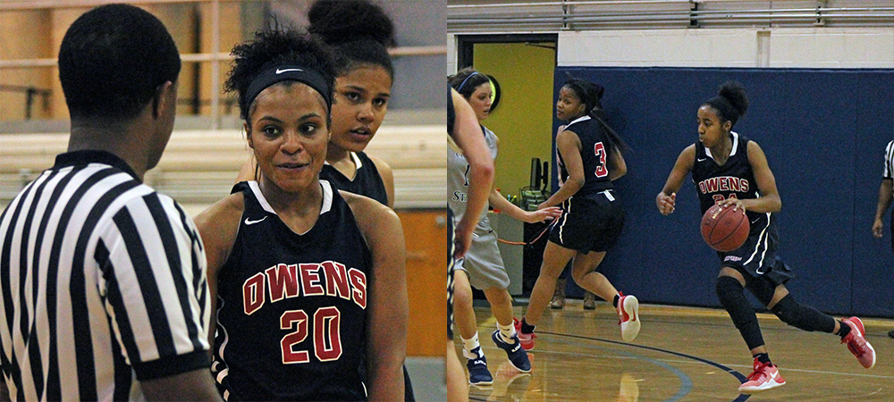At right, Ariel Bethea looks to drive to the basket. At left, Sybil Roseboro looks for answers from an official after picking up a technical foul. Photos by Nicholas Huenefeld/Owens Sports Information