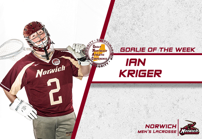 Men's Lacrosse: Kriger takes home fifth career Goalie of the Week award