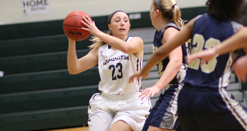 Junior Savannah Hooper finished with a team-high 15 points to help the Fightin' Quakers post the 20-point win over John Carroll. (Wilmington photo/John Swartzel)
