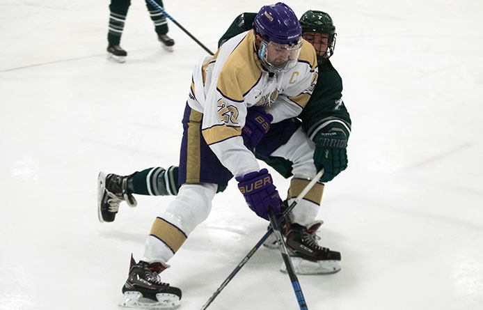 Men's Ice Hockey Triumphant Over Stonehill, 4-1, Takes Sole Possession of First in NE10