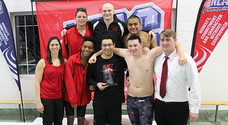 Men's Swimming Places Second At NEAC Championships