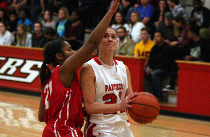 Danielle Newton looks to shoot in Wednesday's 78-49 win against Huntingdon.