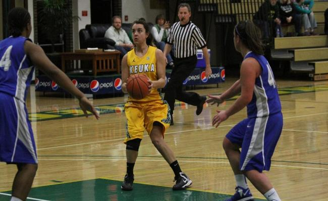 Senior Danielle Gravel scored 14 points and snared six rebounds to lead the Keuka women's basketball team to a 65-42 win over Morrisville State Tuesday night (photo courtesy of Carly Volante, Keuka College Sports Information Department).