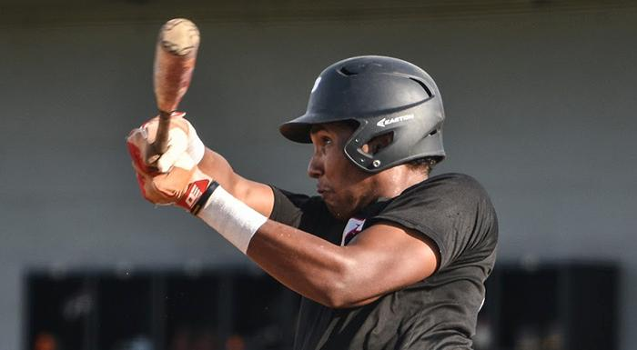 Raudy Martinez singled, doubled, walked, drove in a run, stole two bases, and scored three runs in today's 10-0 win. (Photo by Tom Hagerty, Polk State.)