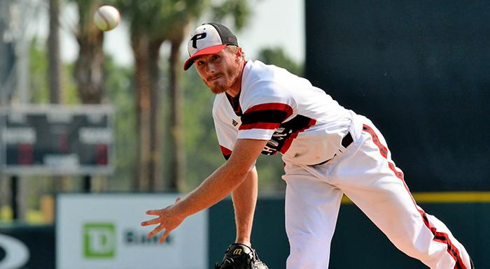 Casey Kulina, pitching for Polk State in 2014, has been named the school's new pitching coach. (Photo by Tom Hagerty, Polk State.)